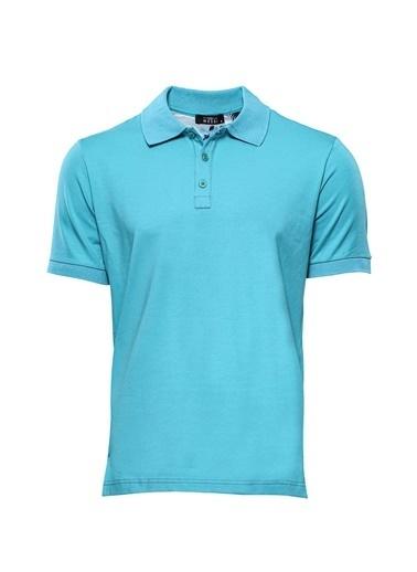 Wessi Erkek Slim Fit Polo Yaka Düz Tişört Mavi